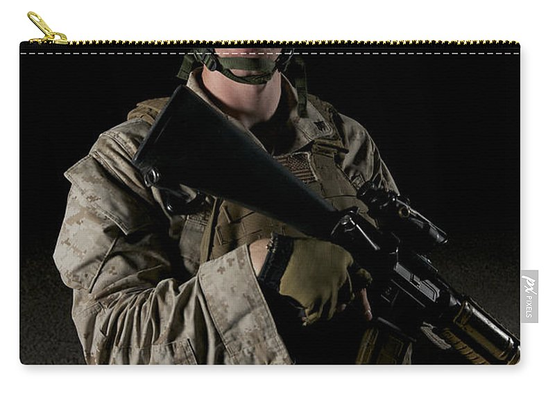 Operation Enduring Freedom Carry-all Pouch featuring the photograph Portrait Of A U.s. Marine Wearing Night by Terry Moore