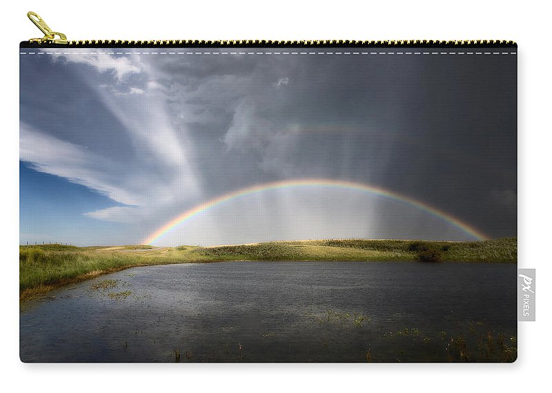 Hail Carry-all Pouch featuring the photograph Prairie Hail Storm And Rainbow by Mark Duffy