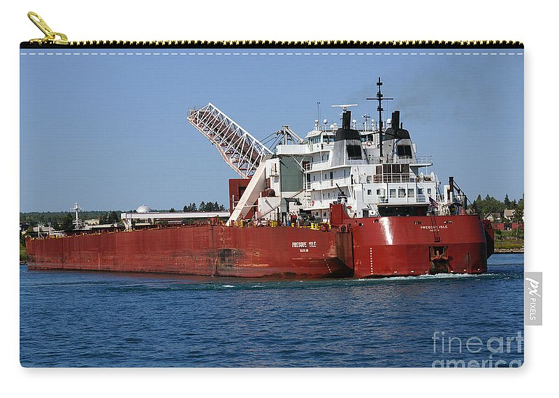 Ship Carry-all Pouch featuring the photograph Presque Isle Ship by Lori Tordsen