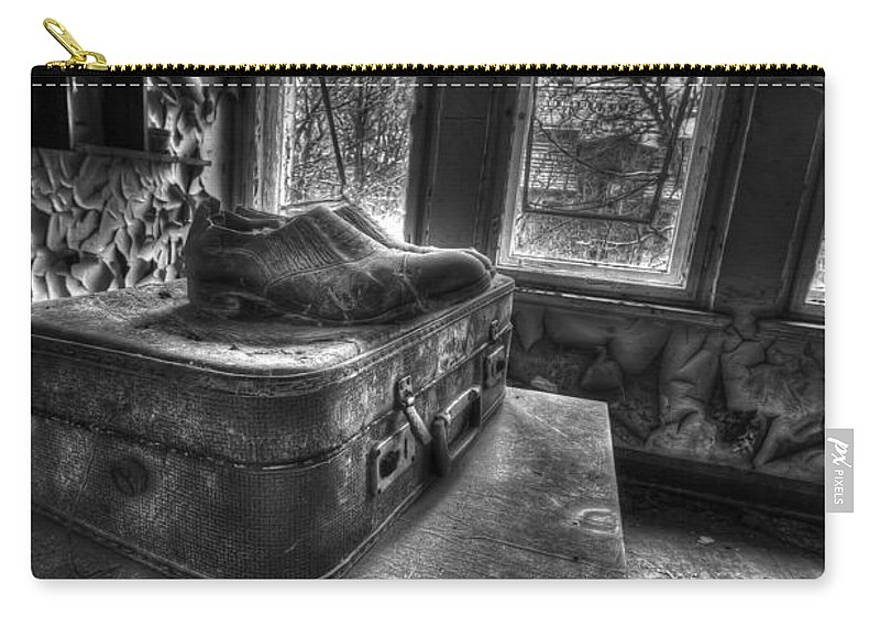 Urbex Room Horror Chairs Window Ancient Hospital Building Casern Carry-all Pouch featuring the photograph Ready To Leave by Nathan Wright