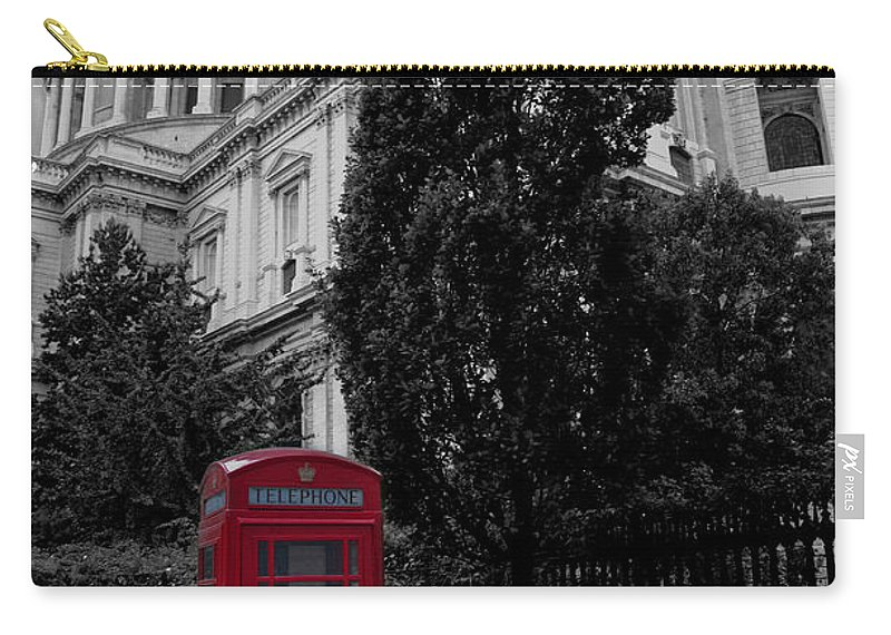 Telephone Box Carry-all Pouch featuring the photograph Red Telephone Box by Dawn OConnor