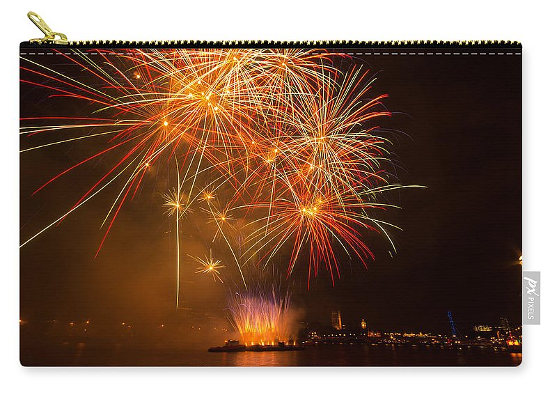 Dawn Oconnor Dawnoconnorphotos@gmail.com Carry-all Pouch featuring the photograph River Thames Fireworks by Dawn OConnor