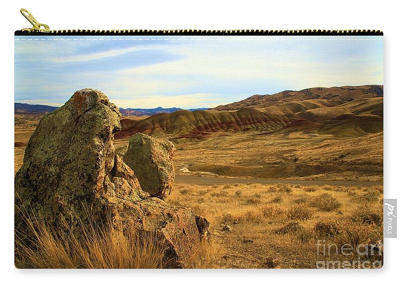 John Day Fossil Beds Carry-all Pouch featuring the photograph Rocky Painted Hills by Adam Jewell