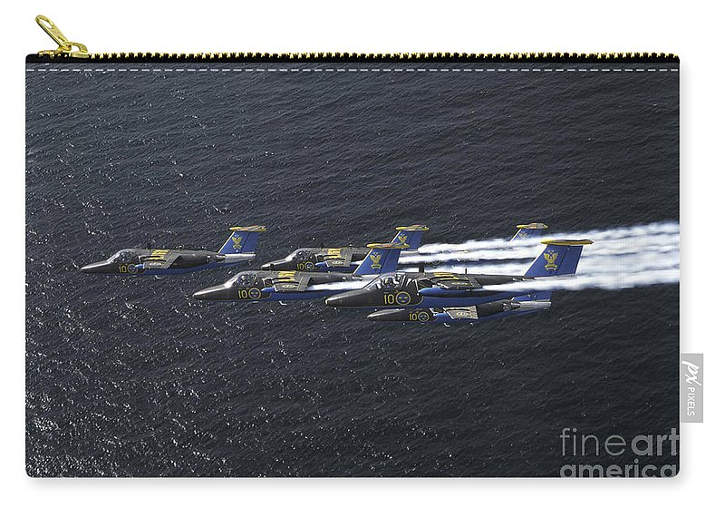Team 60 Carry-all Pouch featuring the photograph Saab 105 Jet Trainers Of The Swedish by Daniel Karlsson