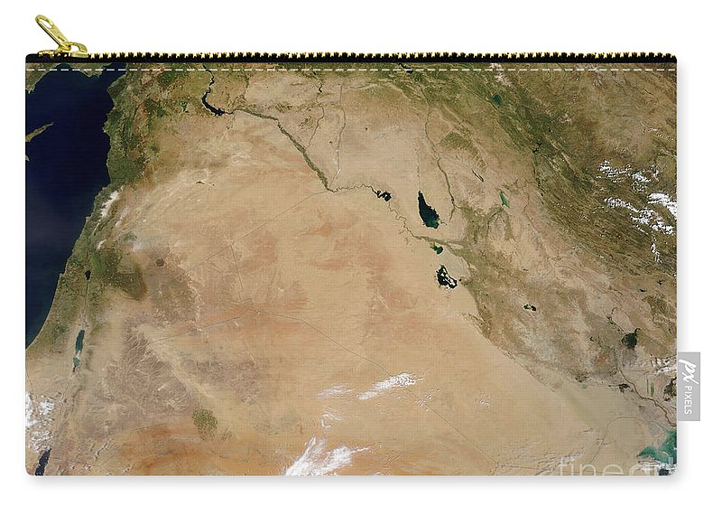 Color Image Carry-all Pouch featuring the photograph Satellite View Of The Middle East by Stocktrek Images