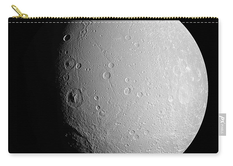 Basin Carry-all Pouch featuring the photograph Saturns Moon Dione by Stocktrek Images