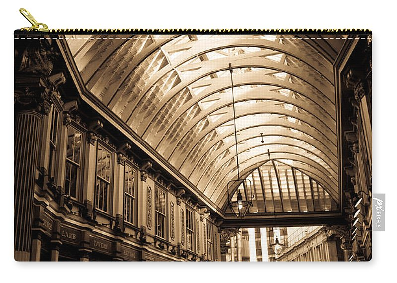 Leadenhall Carry-all Pouch featuring the photograph Sepia Toned Image Of Leadenhall Market London by David Pyatt