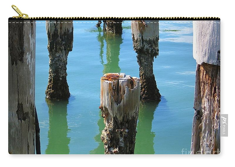 Pilings Carry-all Pouch featuring the photograph Signs Of Time by Rene Triay Photography