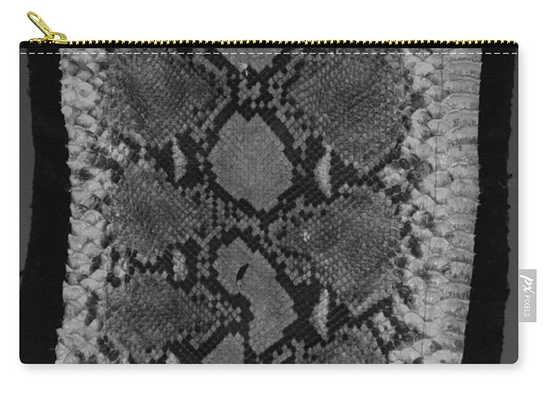 Animal Carry-all Pouch featuring the photograph Snake Skin In Black And White by Rob Hans