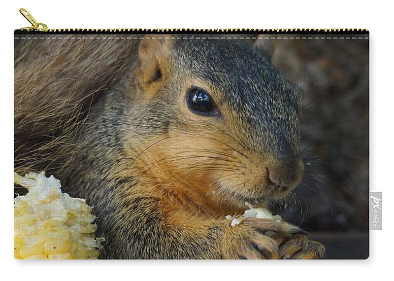 Squirrel Carry-all Pouch featuring the photograph So Much Sweet Corn So Little Time by Lori Tordsen