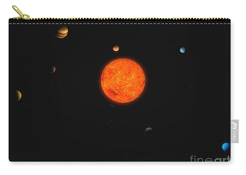 Horizontal Carry-all Pouch featuring the digital art Solar System by Carbon Lotus