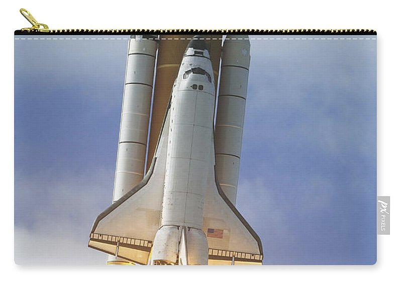 Ov-104 Carry-all Pouch featuring the photograph Space Shuttle Atlantis Lifts by Stocktrek Images
