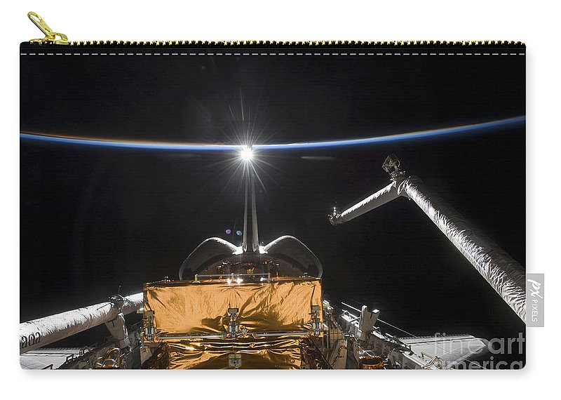 Atmosphere Carry-all Pouch featuring the photograph Space Shuttle Atlantis Payload Bay by Stocktrek Images