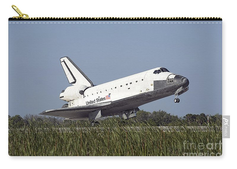 Florida Carry-all Pouch featuring the photograph Space Shuttle Atlantis Touches by Stocktrek Images