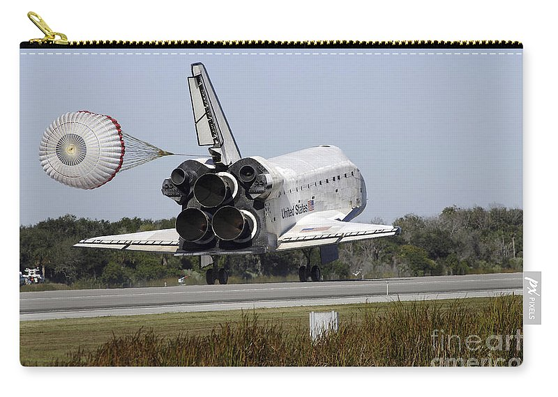 Ov-104 Carry-all Pouch featuring the photograph Space Shuttle Atlantis Unfurls Its Drag by Stocktrek Images