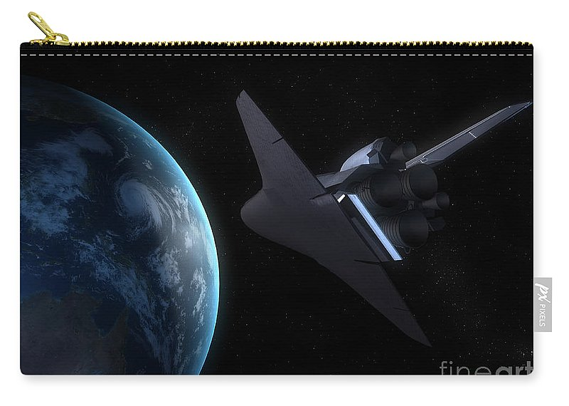 Horizontal Carry-all Pouch featuring the digital art Space Shuttle Backdropped Against Earth by Carbon Lotus