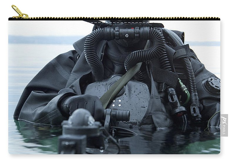 Special Operations Forces Carry-all Pouch featuring the photograph Special Operations Forces Combat Diver by Tom Weber