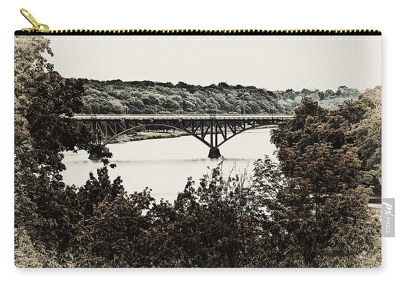 Strawberry Mansion Bridge From Laurel Hill Carry-all Pouch featuring the photograph Strawberry Mansion Bridge From Laurel Hill by Bill Cannon