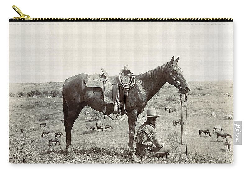 1910 Carry-all Pouch featuring the photograph Texas: Cowboy, C1910 by Granger