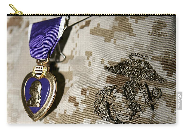 Camouflage Carry-all Pouch featuring the photograph The Purple Heart Award by Stocktrek Images