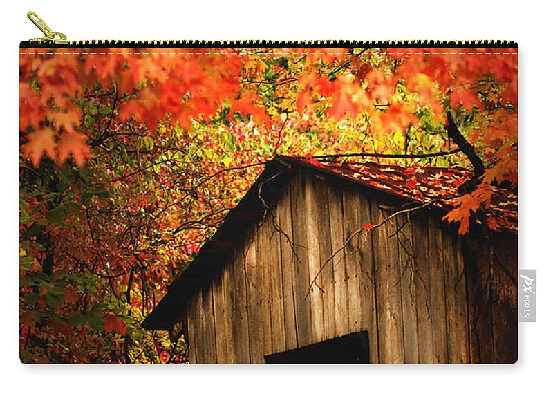 Wood Shed Carry-all Pouch featuring the photograph The Wood Shed by Randall Branham