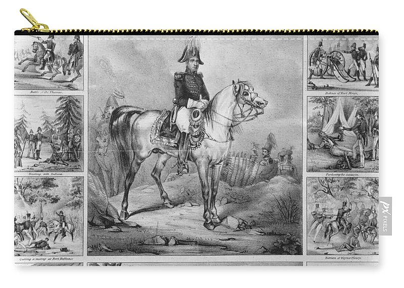 1840 Carry-all Pouch featuring the photograph W. H. Harrison (1773-1841) by Granger