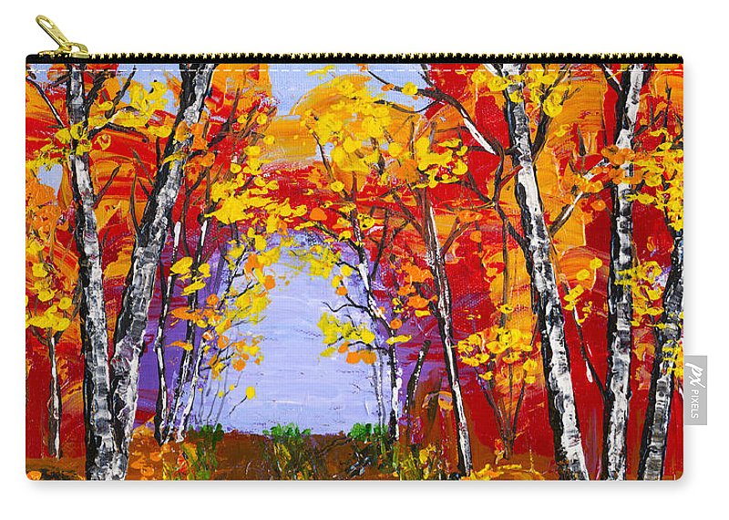 Birch Tree Painting Carry-all Pouch featuring the painting White Birch Tree Abstract Painting In Autumn by Keith Webber Jr