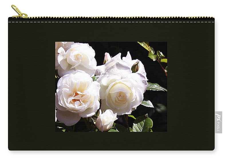Roses. Floral. Flower Carry-all Pouch featuring the photograph White Roses by Donna Walsh