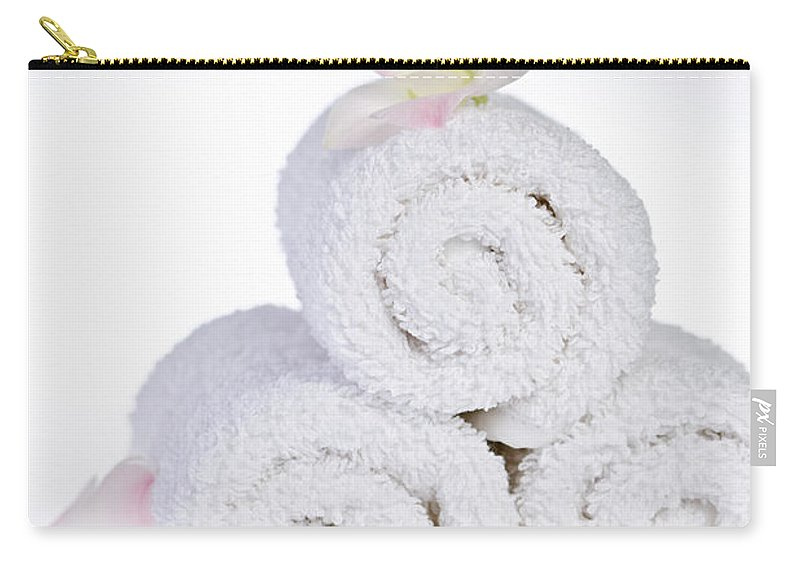 Towels Carry-all Pouch featuring the photograph White Spa by Elena Elisseeva