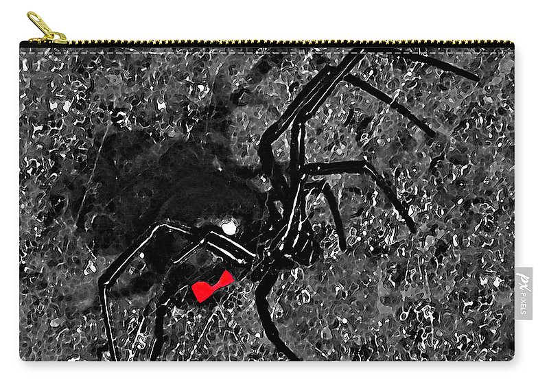 Black Widow Spider Carry-all Pouch featuring the photograph Wicked Widow - Selective Color by Al Powell Photography USA