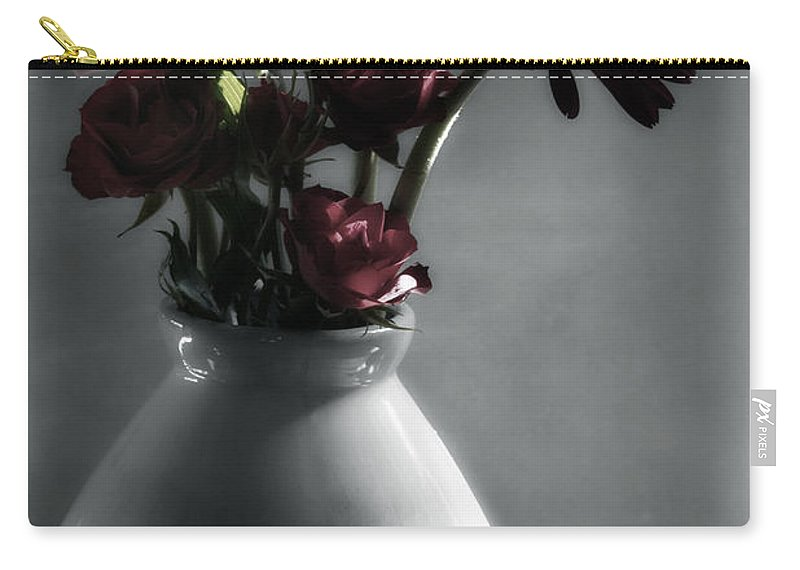 Digitally Hand Colored Carry-all Pouch featuring the photograph Red Floral Still Life by Linda Dunn