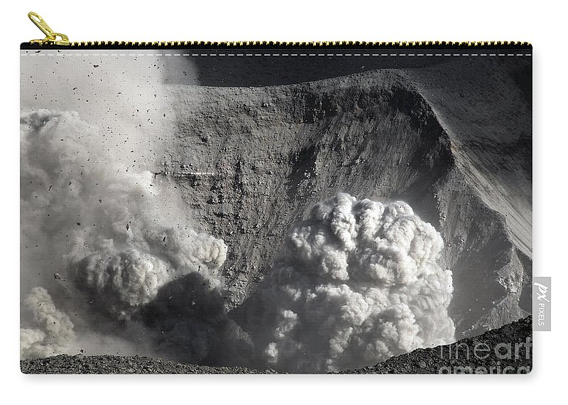 No People Carry-all Pouch featuring the photograph Yasur Eruption, Tanna Island, Vanuatu by Martin Rietze
