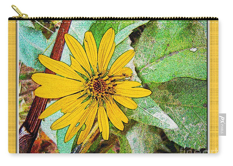 Nature Carry-all Pouch featuring the digital art Yellow Wildflower Photoart by Debbie Portwood