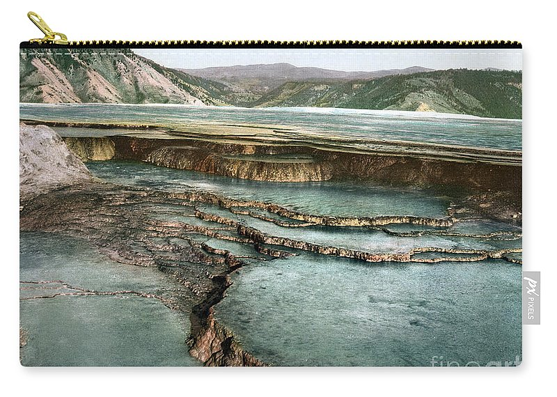 1898 Carry-all Pouch featuring the photograph Yellowstone: Hot Spring by Granger
