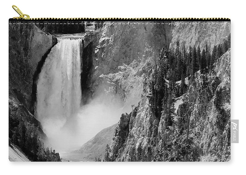 Yellowstone Carry-all Pouch featuring the photograph Yellowstone Waterfalls In Black And White by Sebastian Musial