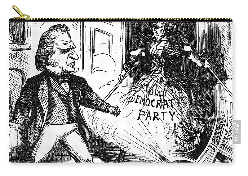 1868 Carry-all Pouch featuring the photograph Andrew Johnson (1808-1875) by Granger