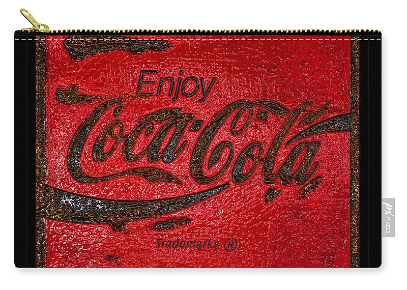 Coca Cola Carry-all Pouch featuring the photograph Coca Cola Classic Vintage Rusty Sign by John Stephens
