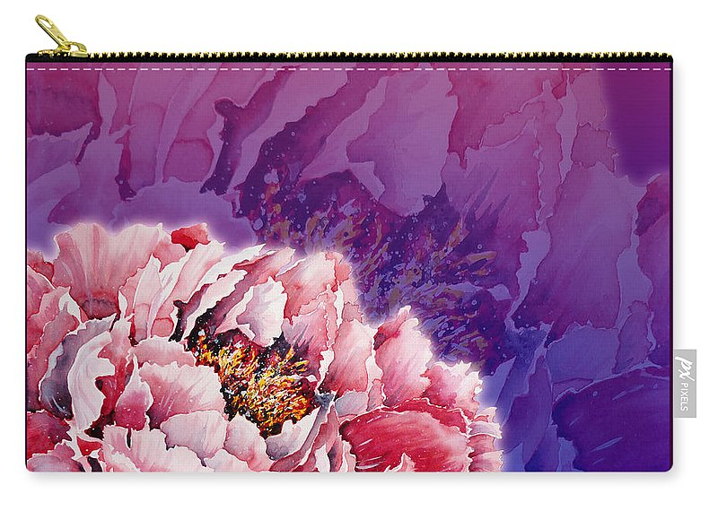 Peony Carry-all Pouch featuring the mixed media Peony by Zaira Dzhaubaeva