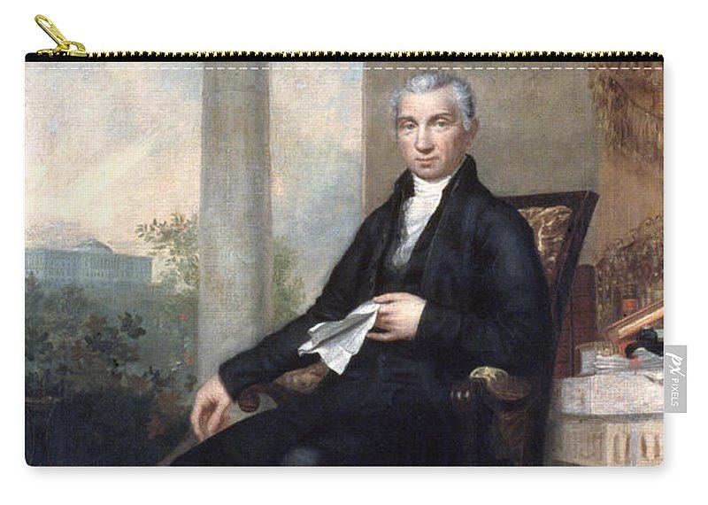 1817 Carry-all Pouch featuring the photograph James Monroe (1758-1831) by Granger