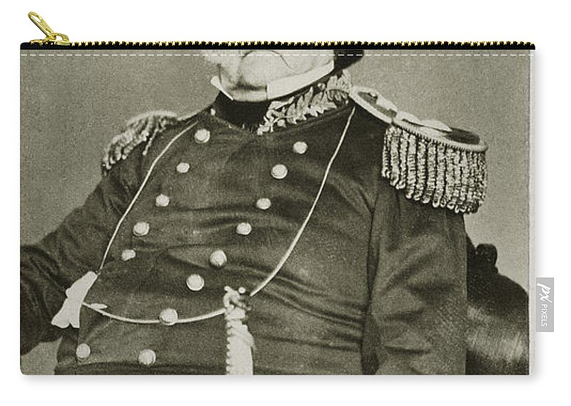 1862 Carry-all Pouch featuring the photograph Winfield Scott (1786-1866) by Granger