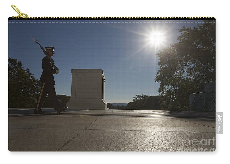 Horizontal Carry-all Pouch featuring the photograph Honor Guard At The Tomb by Terry Moore