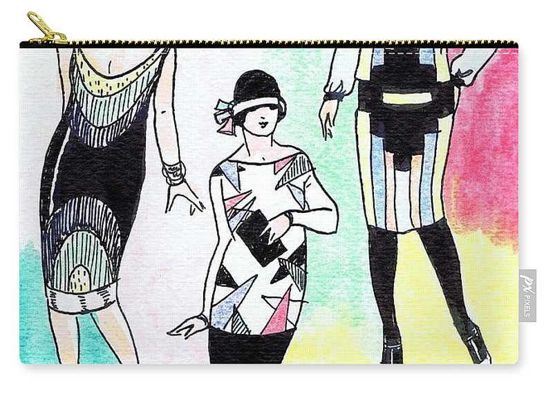 Nostalgia Carry-all Pouch featuring the drawing 1920s Gals 3 by Mel Thompson