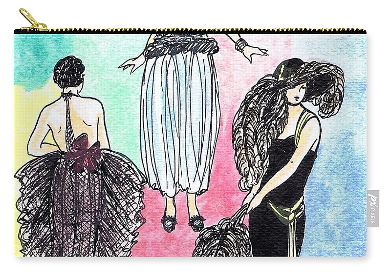 Nostalgia Carry-all Pouch featuring the drawing 1920s Gals 4 by Mel Thompson