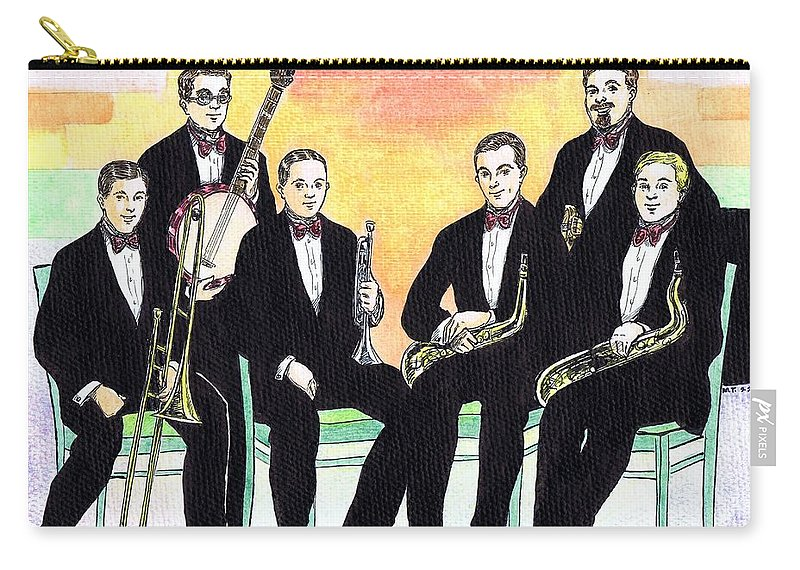 Nostalgia Carry-all Pouch featuring the drawing 1927 New Yorkers Jazz Band by Mel Thompson