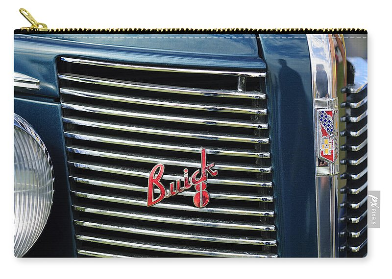 1937 Buick Carry-all Pouch featuring the photograph 1937 Buick Grille Emblem by Jill Reger