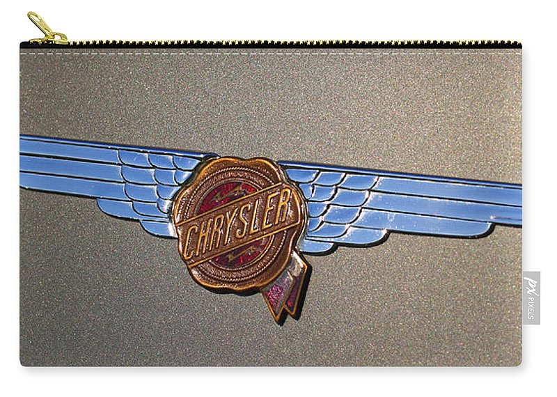 1934 Carry-all Pouch featuring the photograph 1937 Chrysler Airflow Emblem by Gordon Dean II