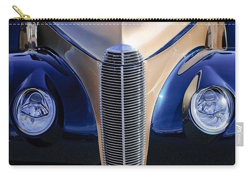 1940 Cadillac Lasalle Convertible Carry-all Pouch featuring the photograph 1940 Cadillac Lasalle Convertible Grille by Jill Reger