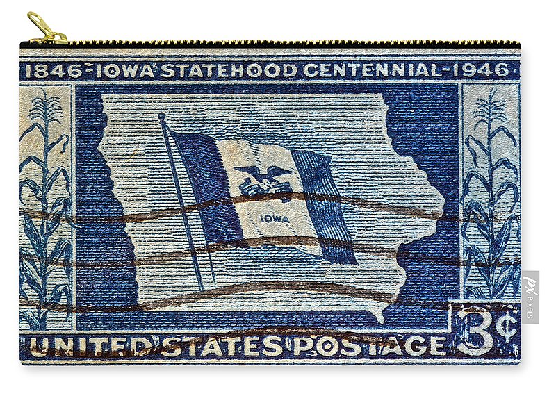 1946 Carry-all Pouch featuring the photograph 1946 Iowa Statehood Stamp by Bill Owen