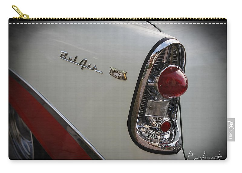 Grill Carry-all Pouch featuring the photograph 1950s Chevrolet Belair Chevy Antique Vintage Car 2 by Robin Lewis