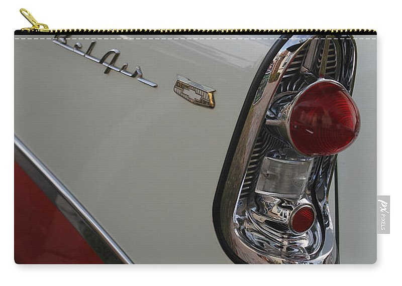 Grill Carry-all Pouch featuring the photograph 1950s Chevrolet Belair Chevy Antique Vintage Car by Robin Lewis